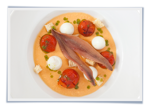 Salmorejo with Quails Eggs and Anchovies